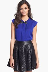 Milly Leather Bow Tie Top - Lyst