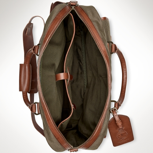Polo Ralph Lauren Canvas Leather Commuter Bag In Green For