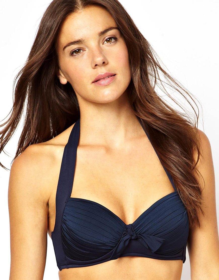 b1b998e4ae Lyst - French Connection Seafolly Goddess Soft Cup Halter Bikini Top ...