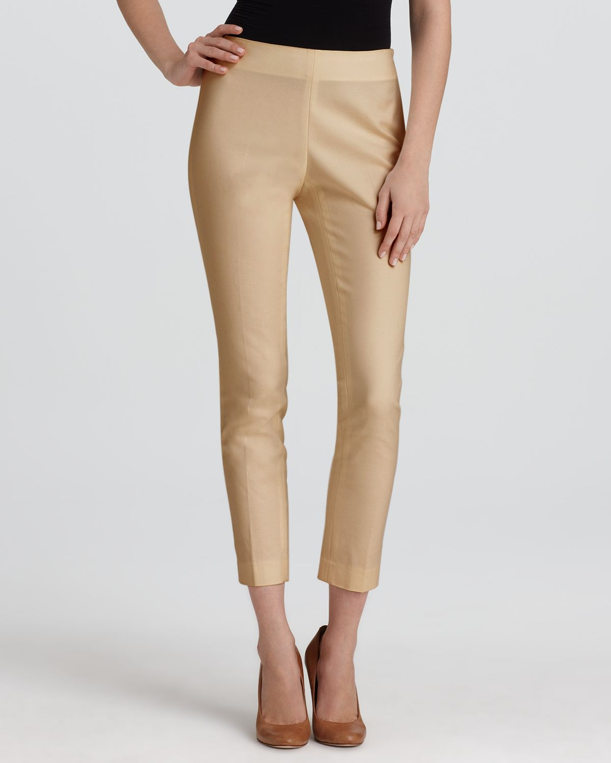 Vince Camuto Side Zip Pants In Natural Lyst
