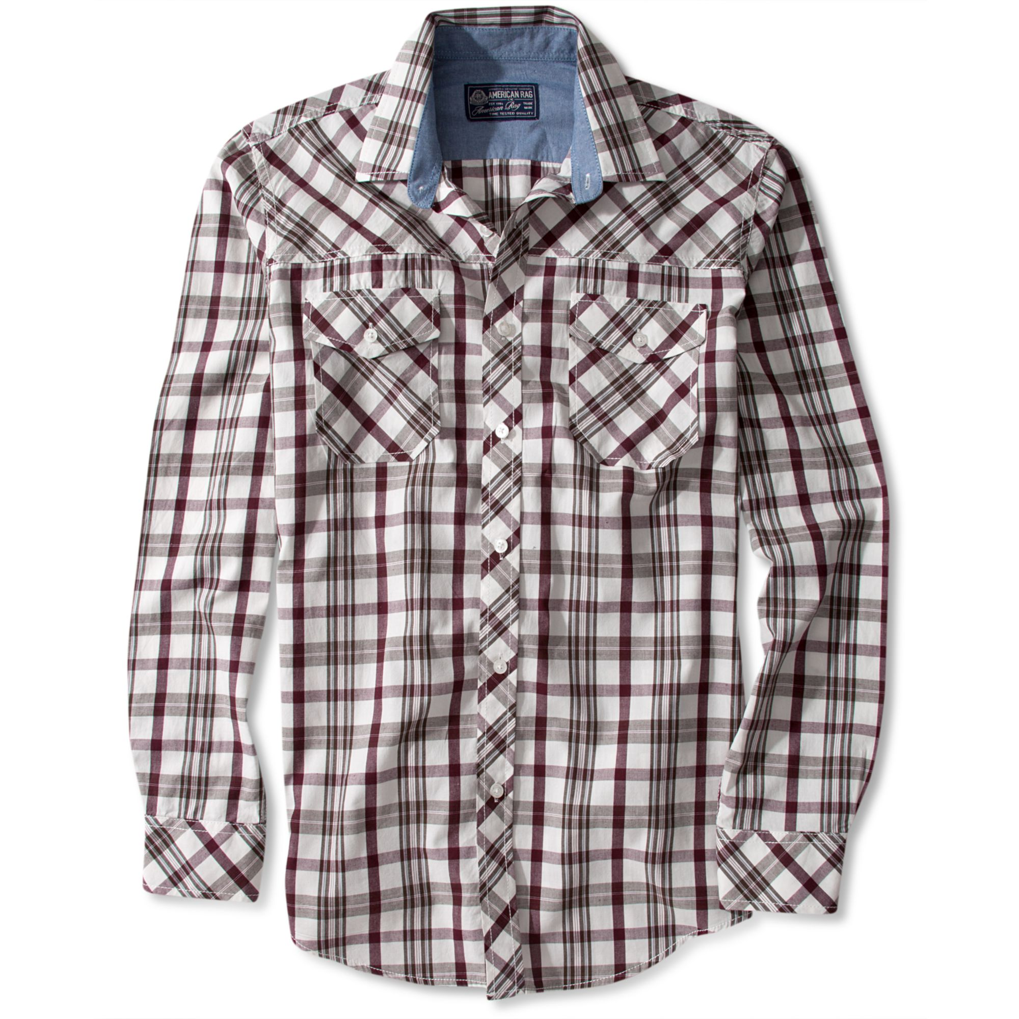american rag plaid sleeve shirt in gray for