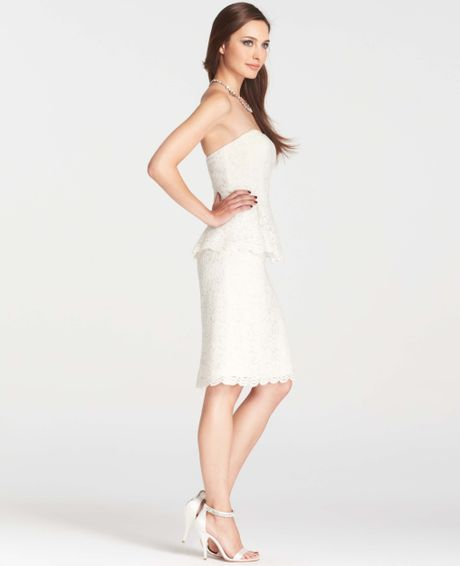 Ann taylor strapless lace peplum dress in white bridal for White peplum wedding dress