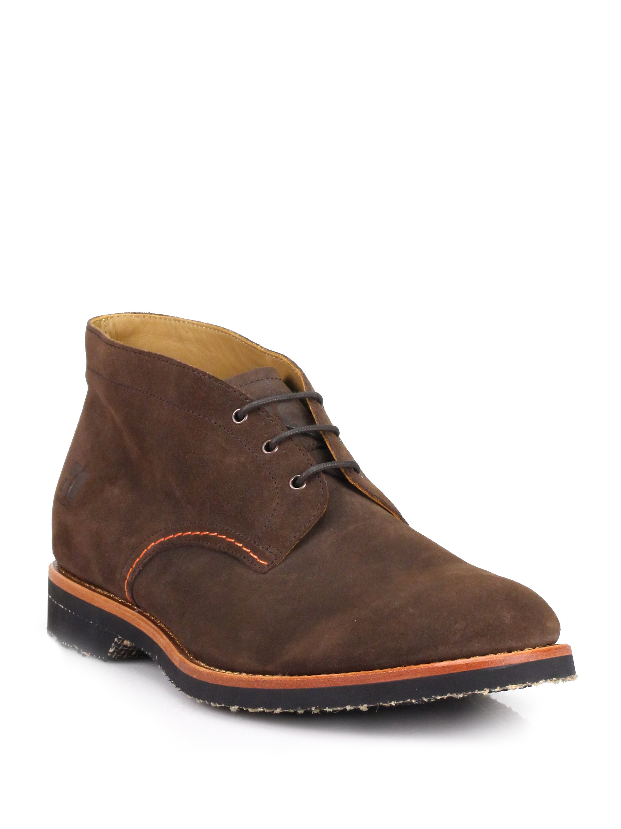 orange arizar chukka desert boots in brown for