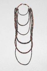 Brunello Cucinelli Quartz Wood Beaded Necklace - Lyst
