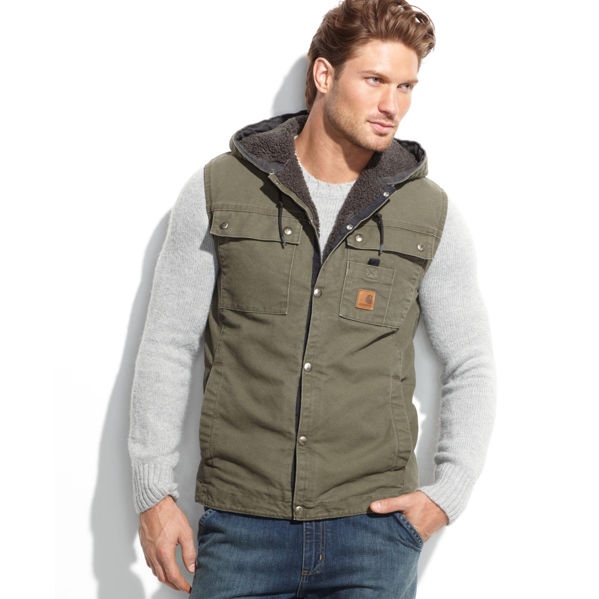 Lyst Carhartt Sandstone Hooded Multi Pocket Vest In