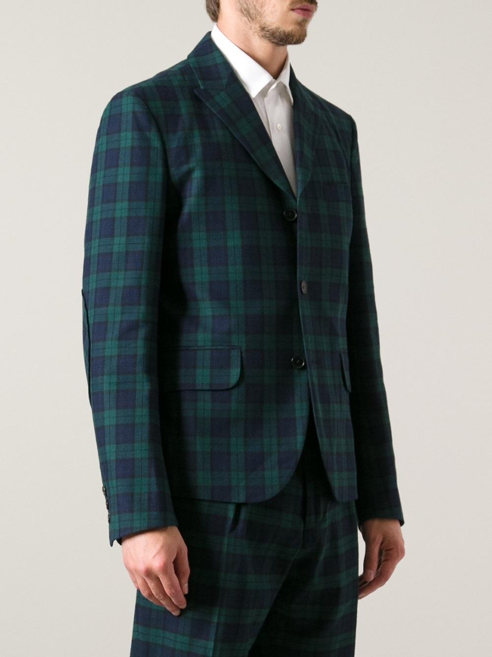 Carven Tartan Suit Jacket in Green for Men | Lyst