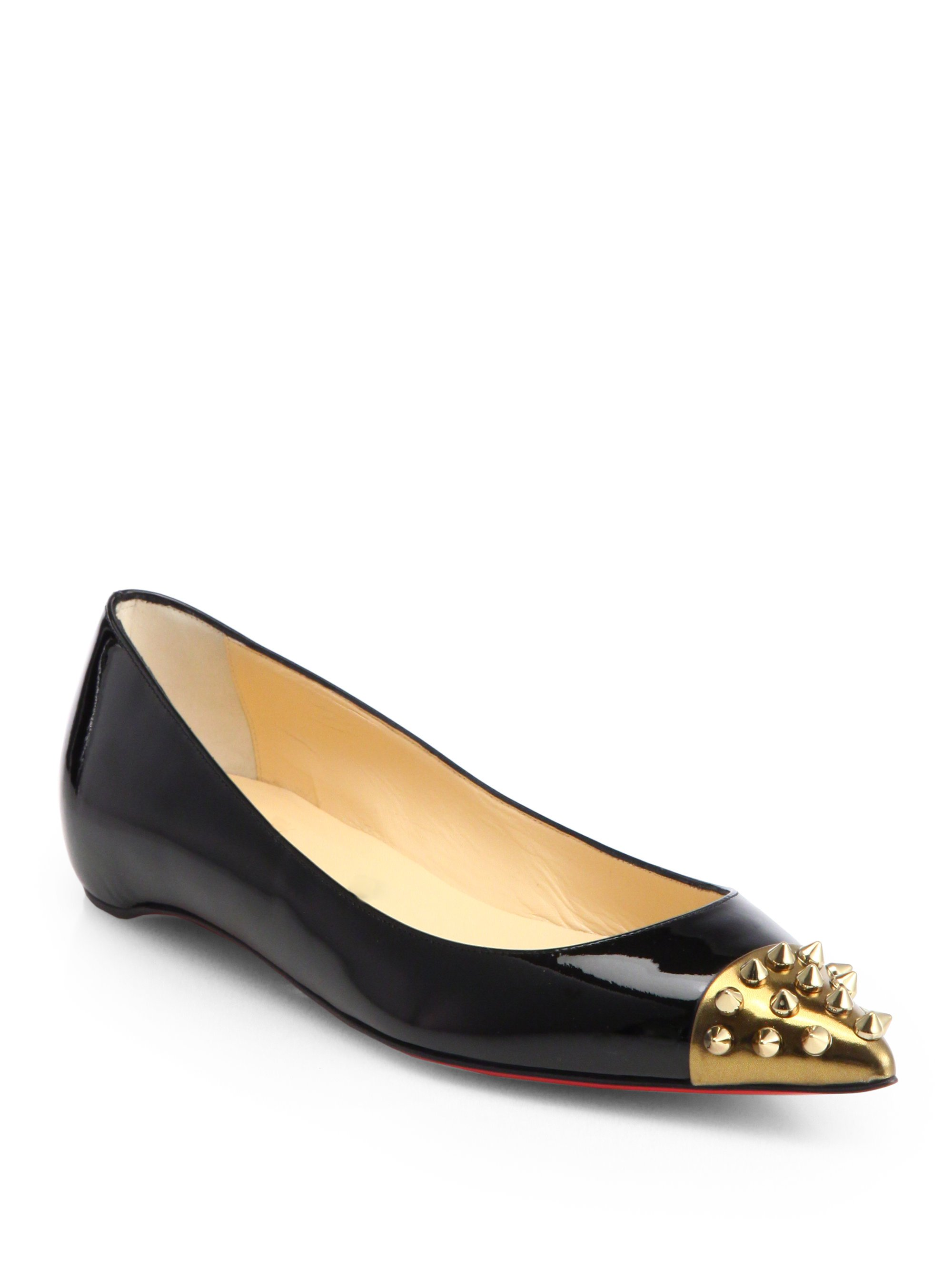 48c38c8fb83c Christian Louboutin Geo Patent Leather Spiked Captoe Ballet Flats in ...