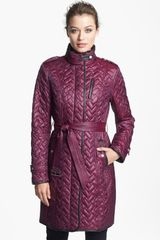 Cole Haan Leather Trim Belted Quilted Coat - Lyst