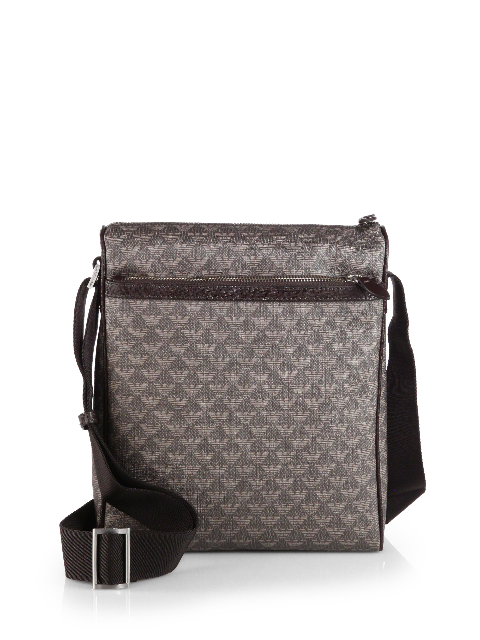 653ae7315177 Lyst - Emporio Armani Elongated Logo Messenger Bag in Brown for Men