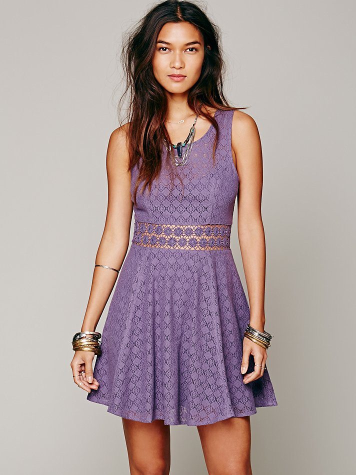 Free People Fitted With Daisies Dress In Purple Dusty