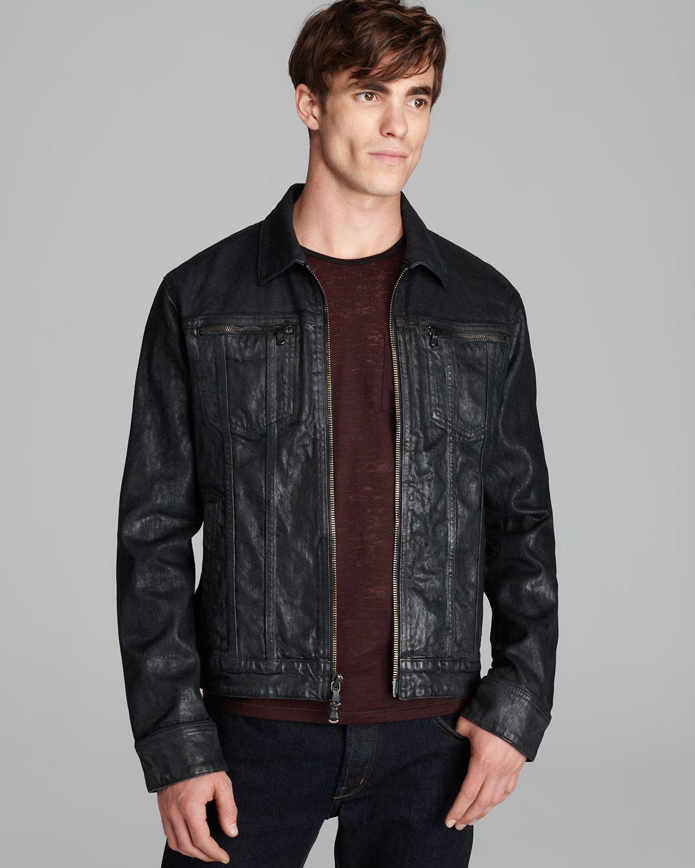 John varvatos Usa Coated Denim Jacket in Black for Men | Lyst