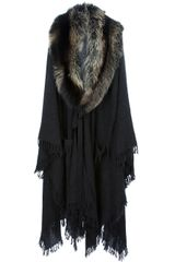 Lanvin Oversized Fur Collar Coat - Lyst