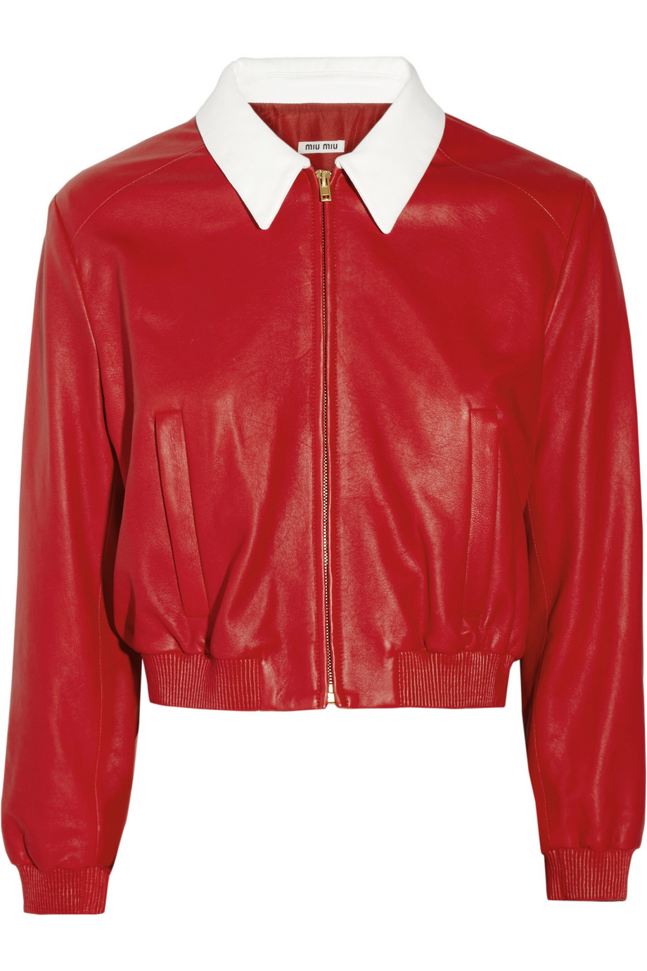 Lyst Miu Miu Leather Bomber Jacket In Red