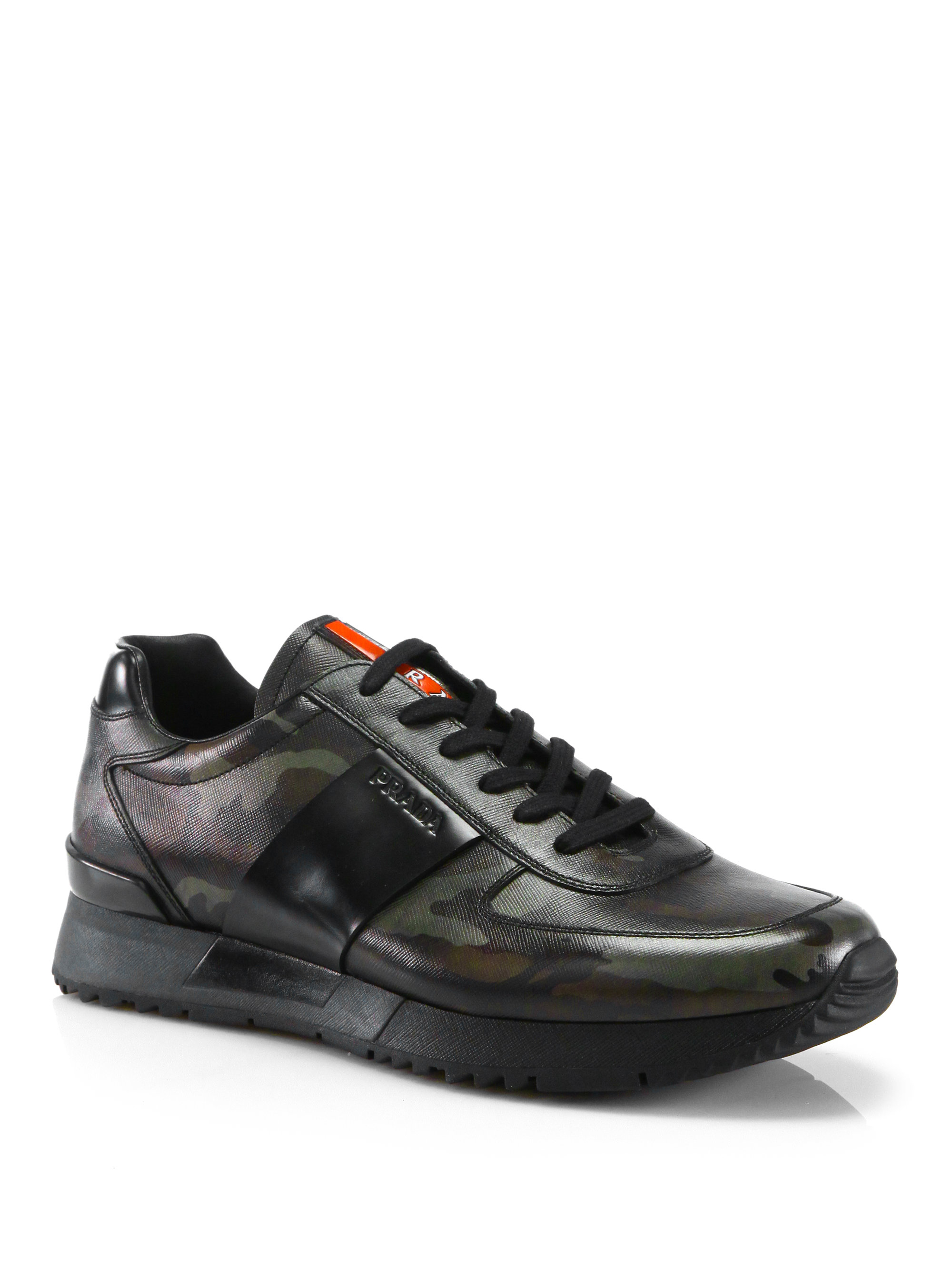 Lyst Prada Camouflage Print Running Sneakers In Black