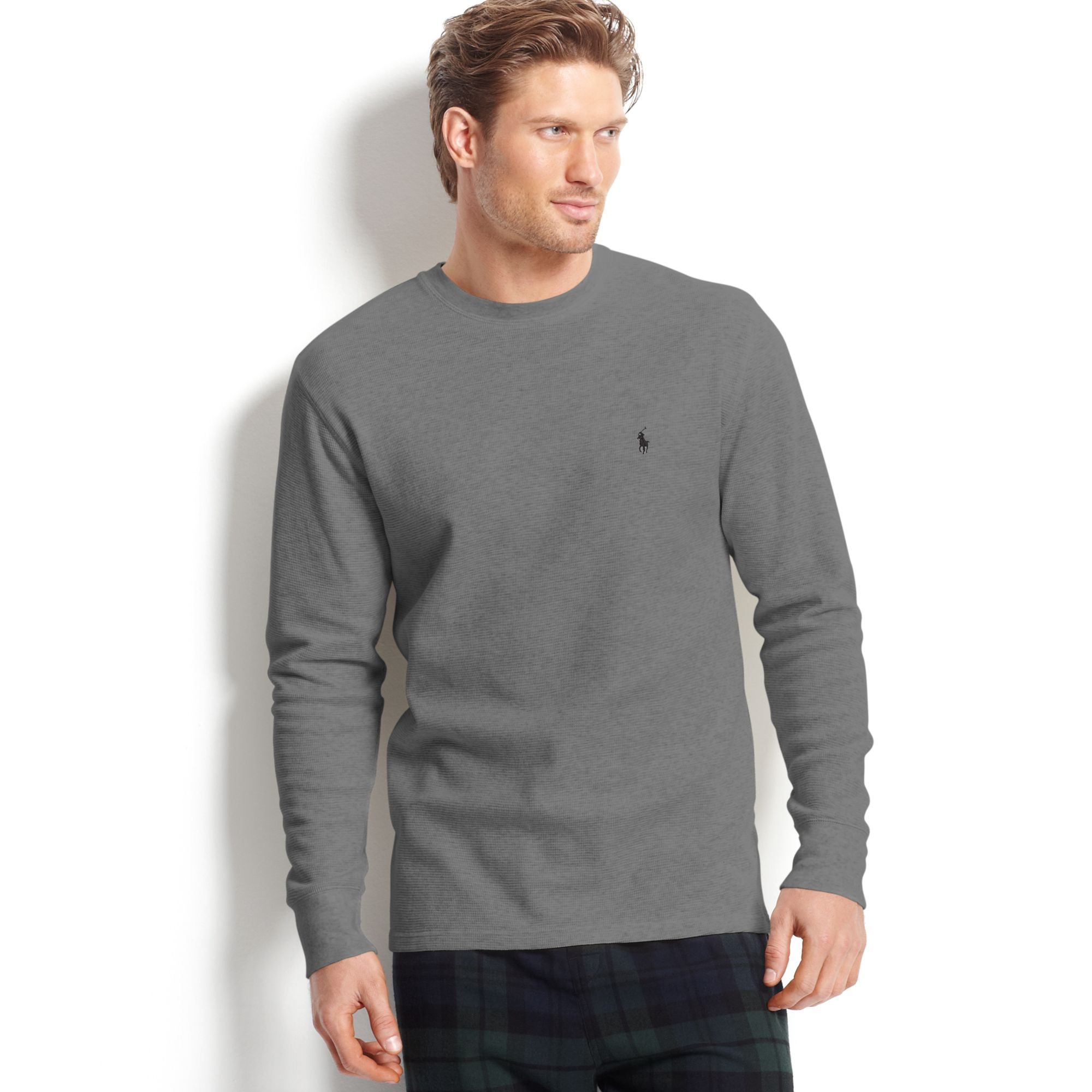 ed884399bae2a Lyst - Ralph Lauren Long Sleeve Crew Neck Waffle Knit Thermal Tshirt ...