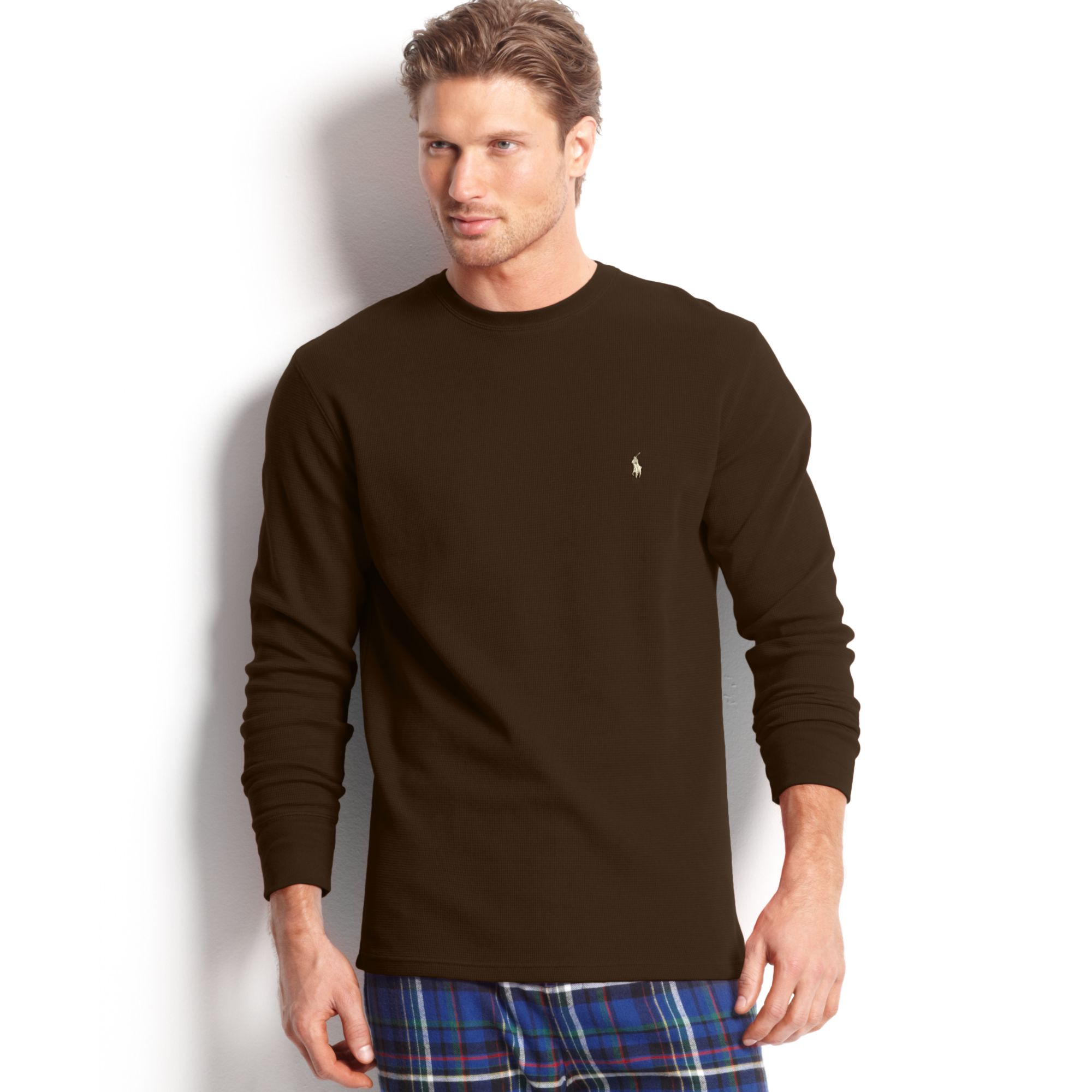 0dd00c81b96ab Lyst - Ralph Lauren Long Sleeve Crew Neck Waffleknit Thermal Tshirt ...