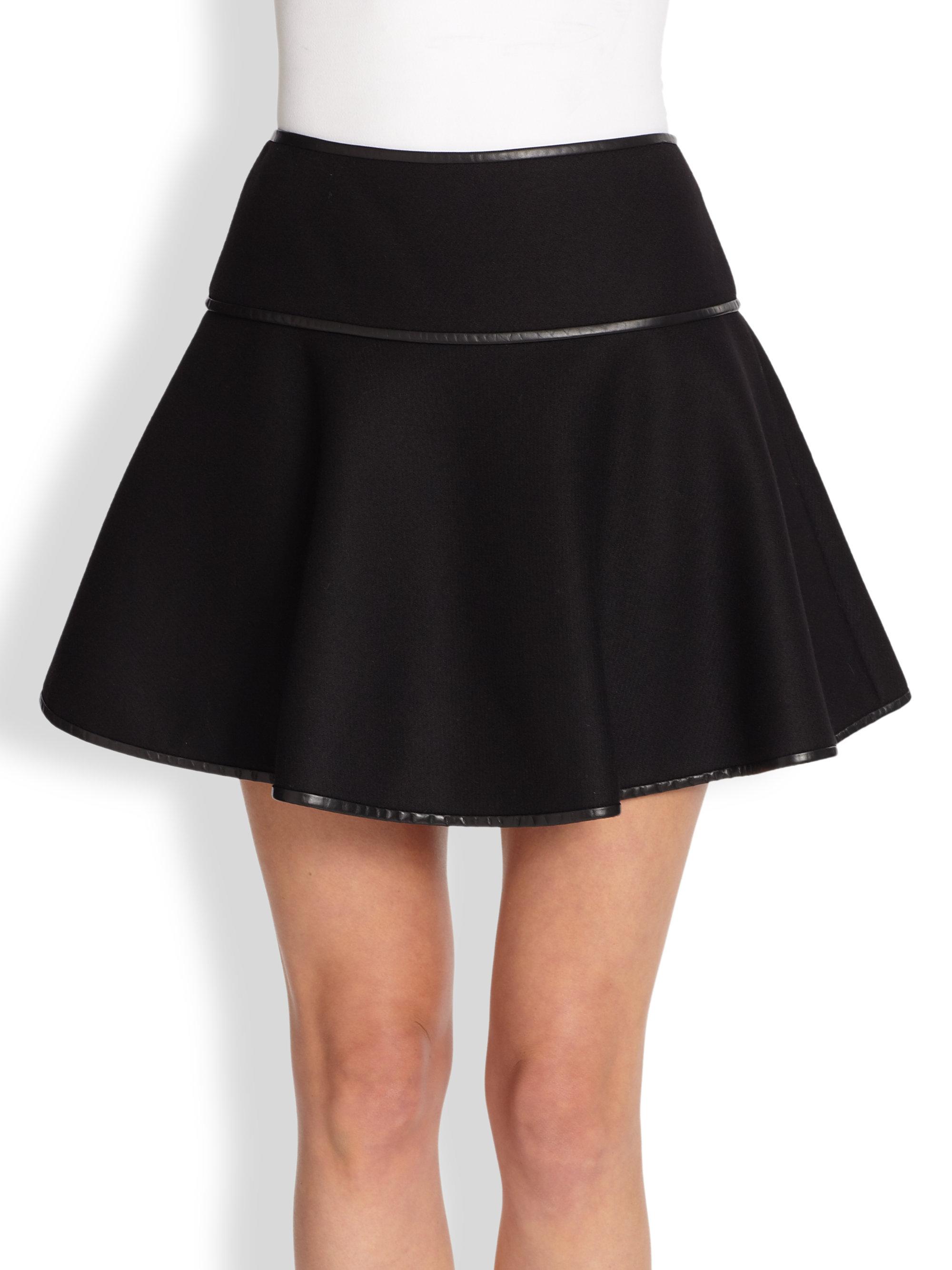 valentino leather trim skater skirt in black lyst