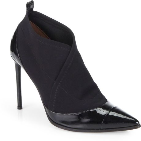 reed krakoff stretch jersey patent leather ankle boots in