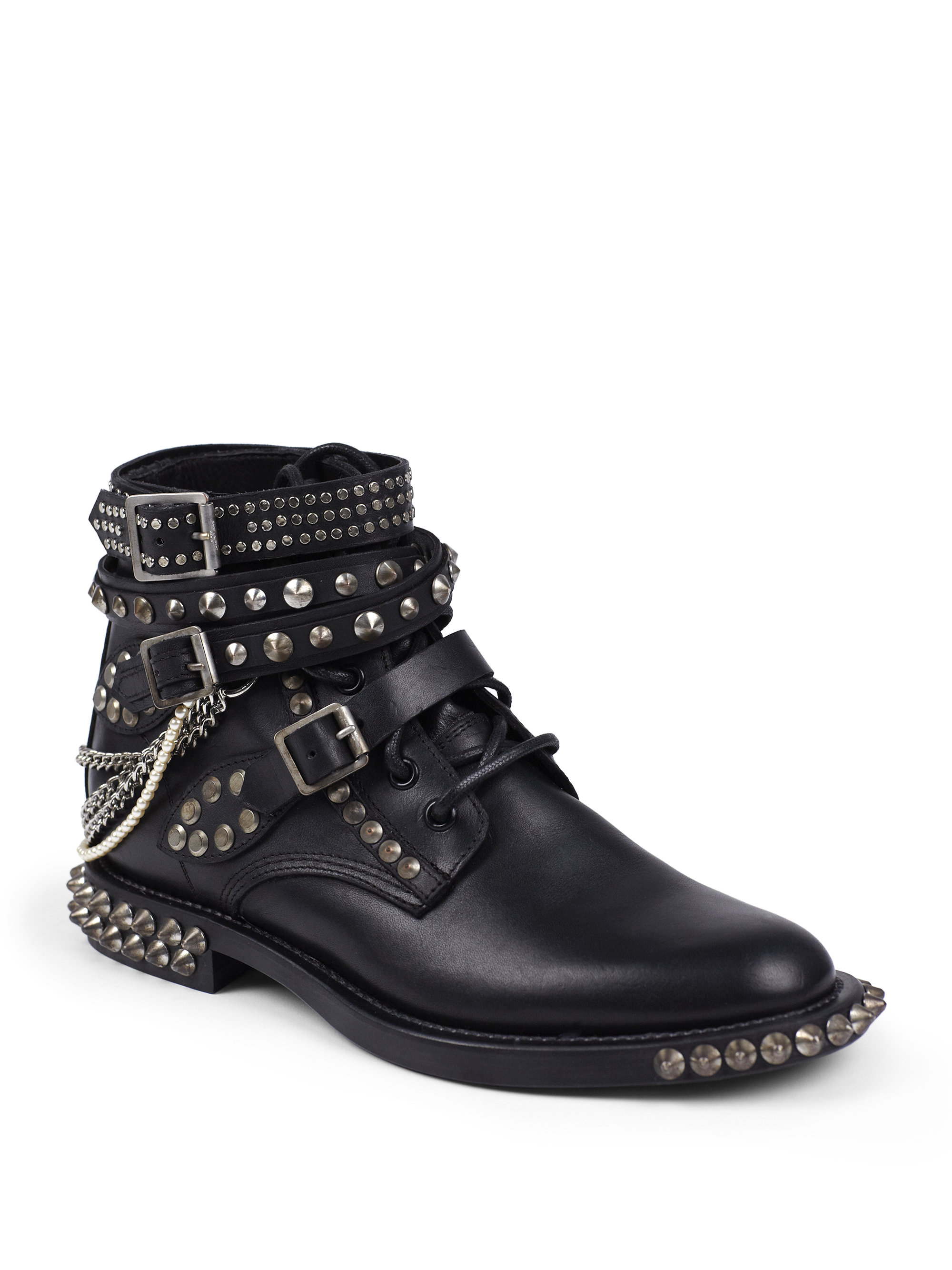 laurent rangers embellished leather lace up ankle