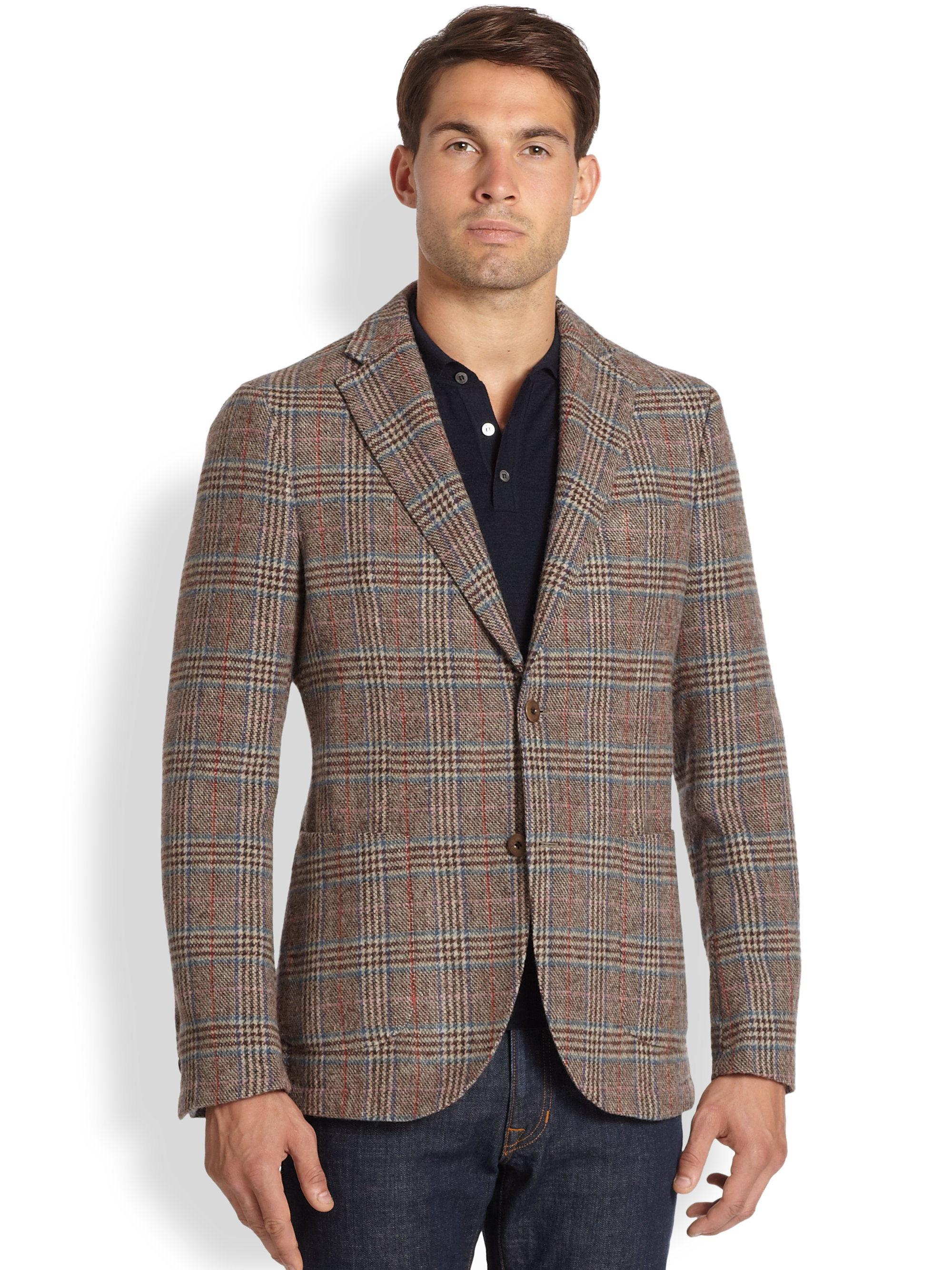 Slowear Plaid Wool Blazer in Brown for Men | Lyst