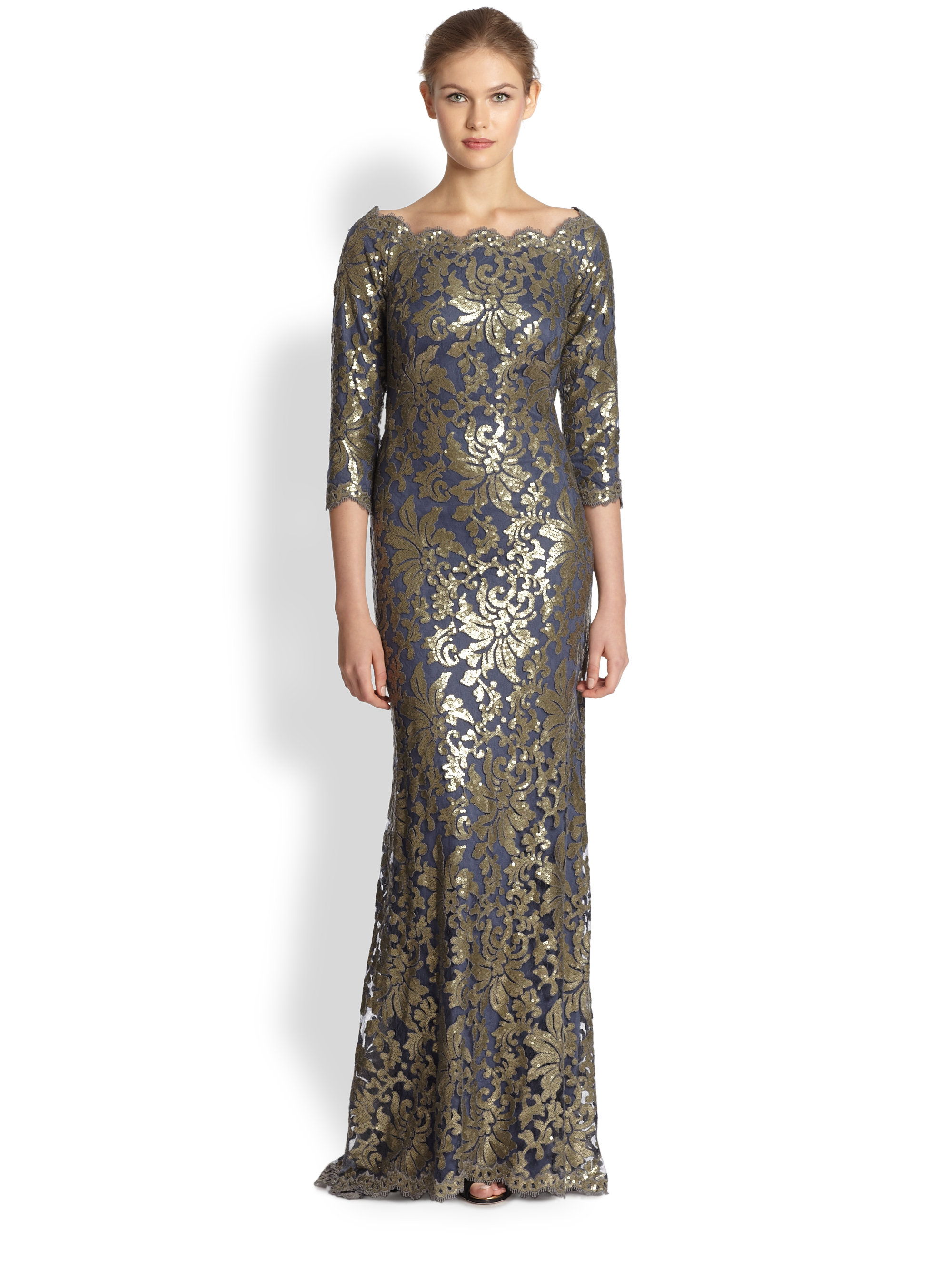 Tadashi Shoji Sequined Lace Gown in Blue - Lyst