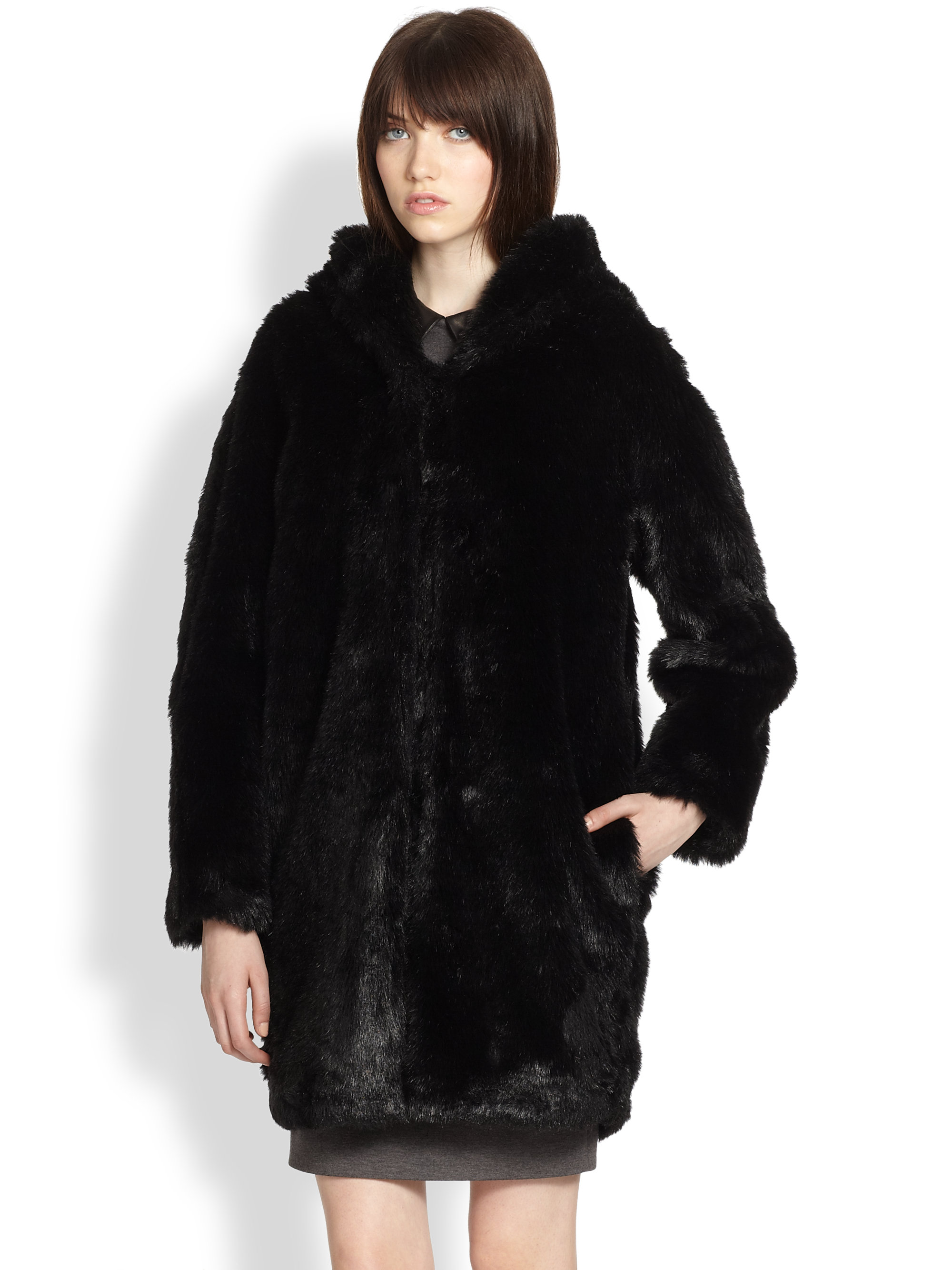 Thakoon Addition Hooded Faux Fur Coat in Black