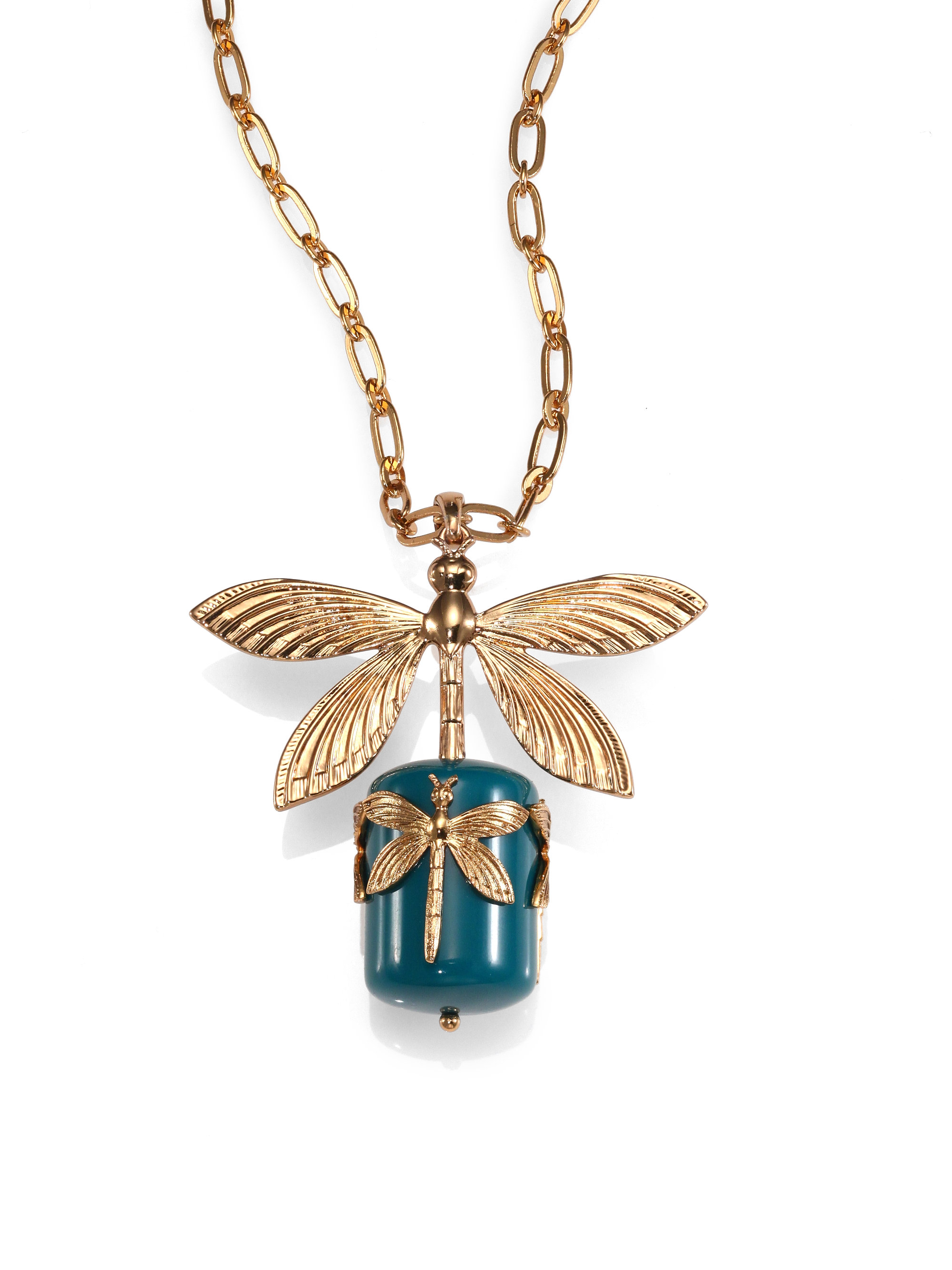 Tory Burch Dragonfly Pendant Necklace In Gold Gold Blue