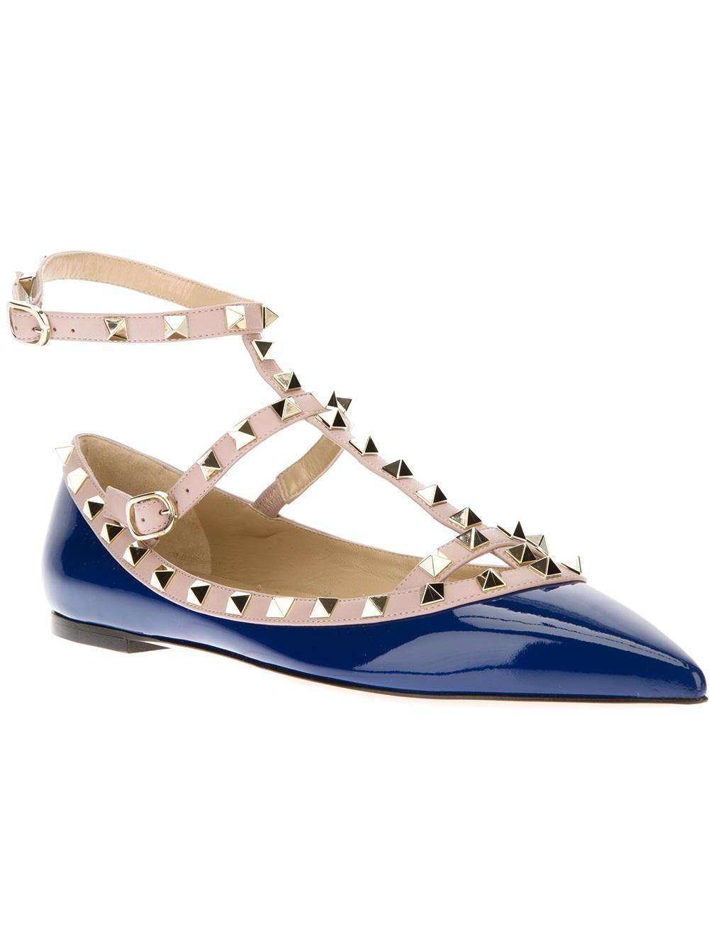 Valentino Rockstud Flat Sandal In Blue Lyst