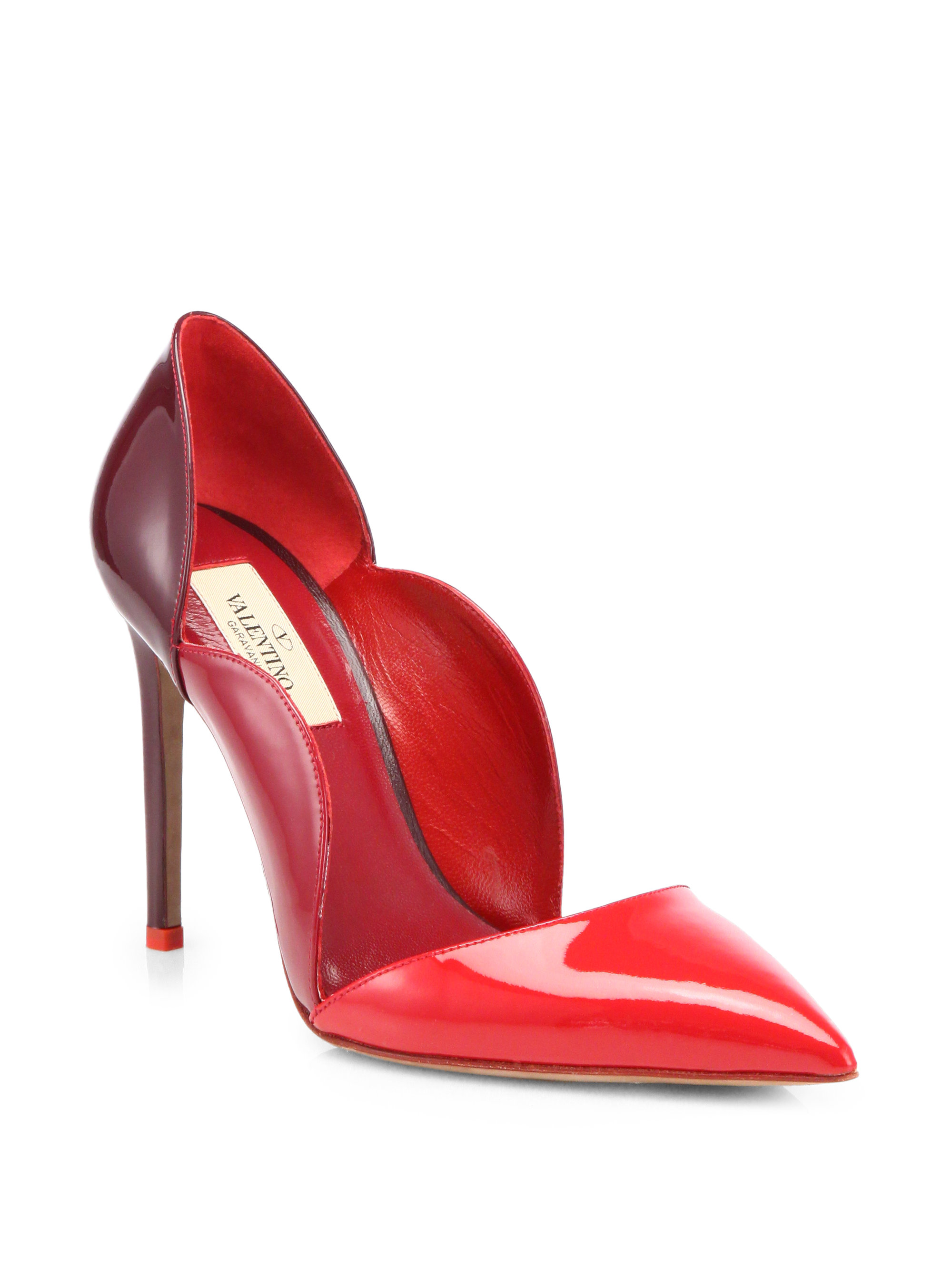Beautiful Valentino Leather Red Scalloped Pumps