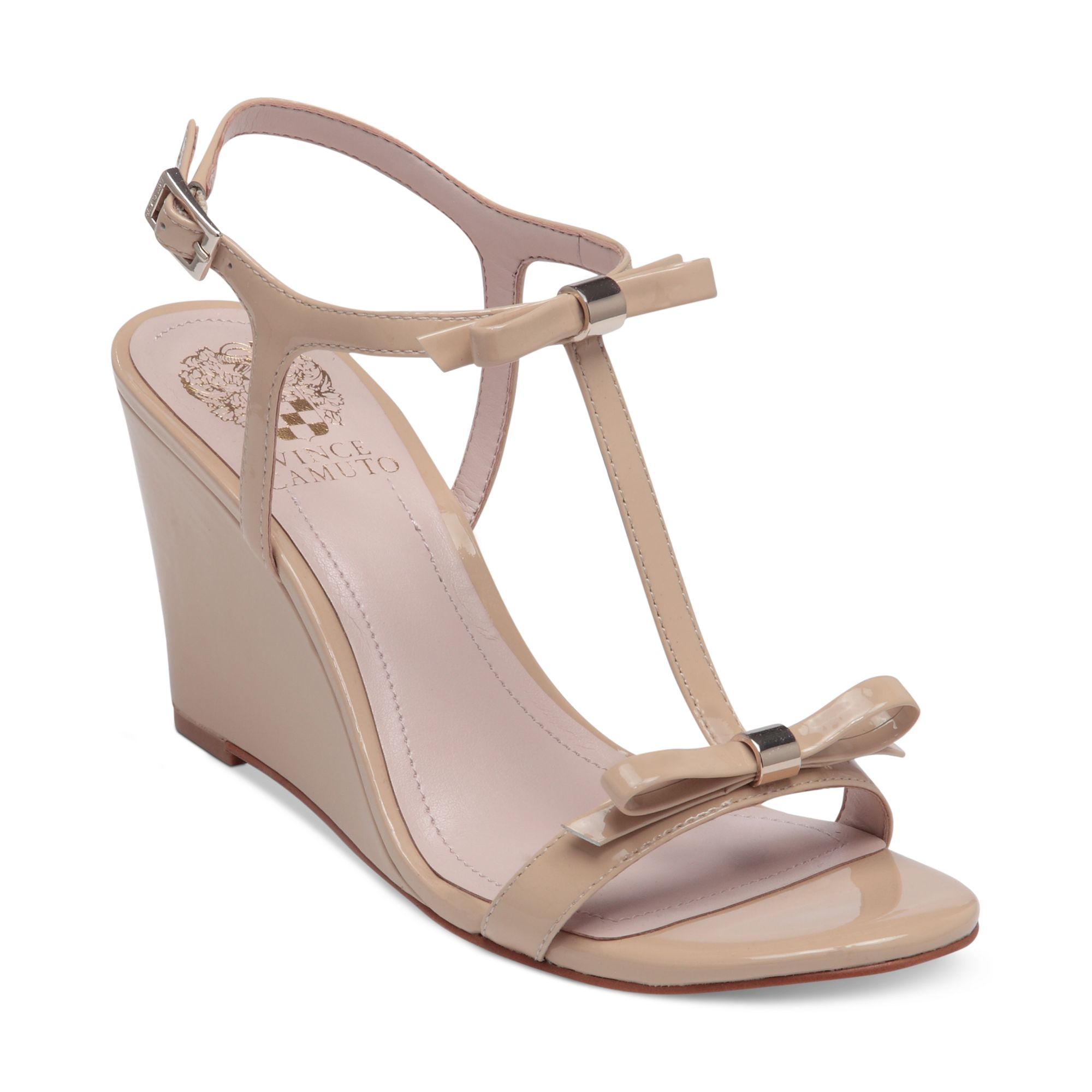 vince camuto hattel bow wedge sandals in beige petal lyst
