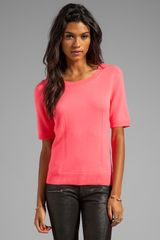 Milly Milly Knit Zip Back Sweater in Coral - Lyst