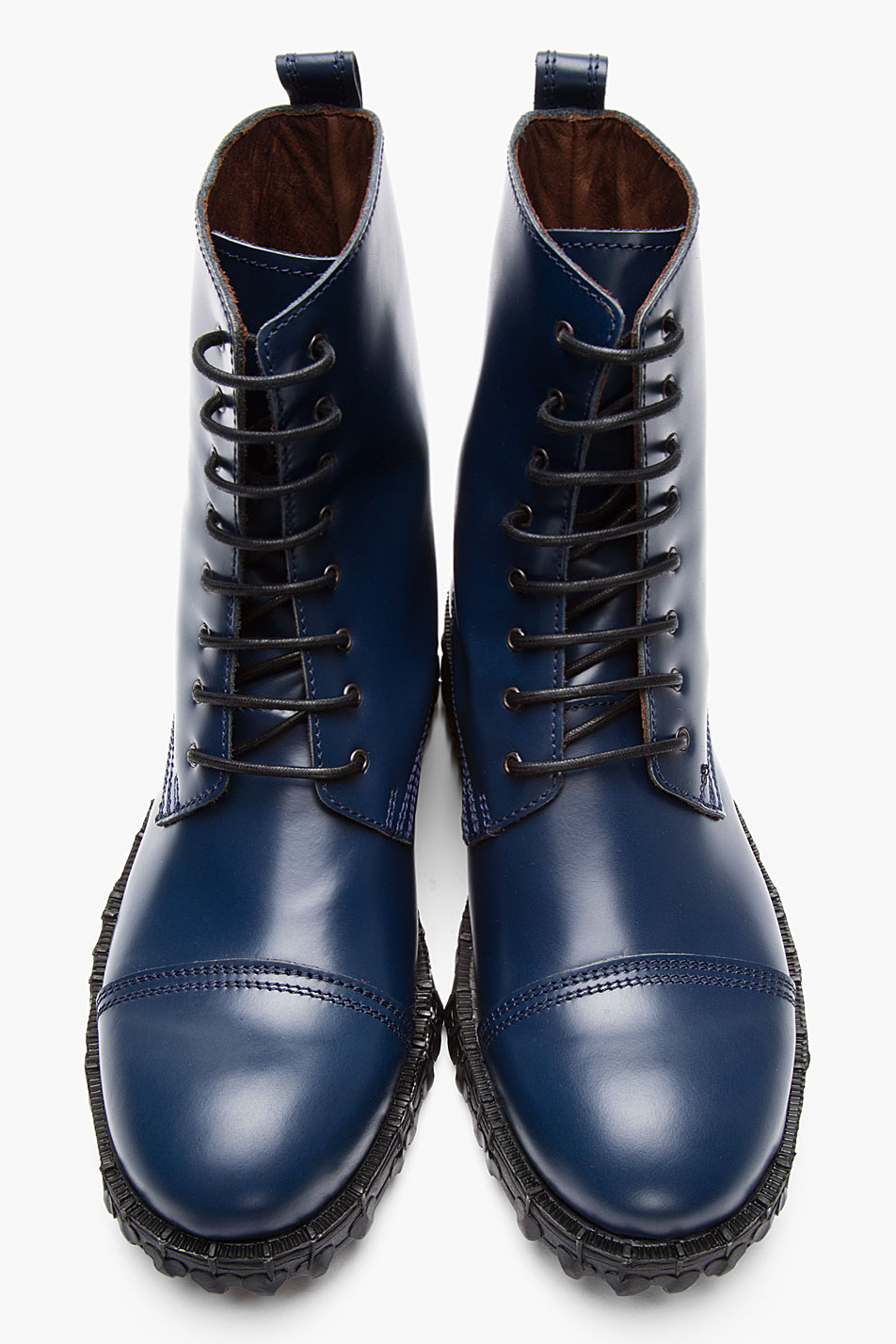 Acne Navy Leather Mart Combat Boots in Blue for Men | Lyst