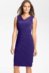 Adrianna Papell V-neck Shutter Pleat Sheath Dress - Lyst