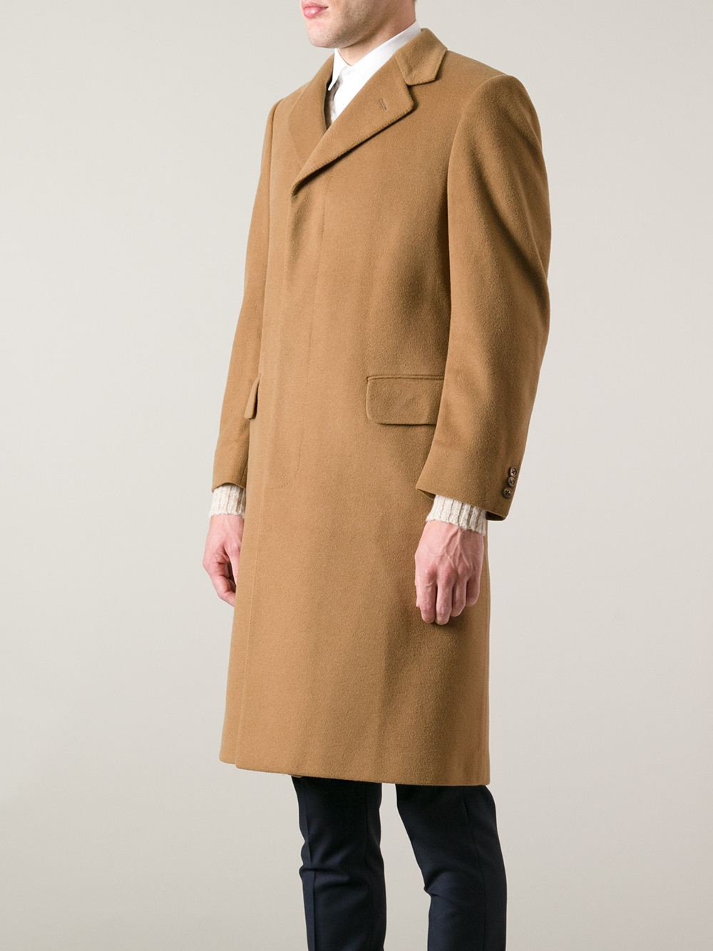 Aquascutum Cashmere and Wool Coat in Brown for Men | Lyst