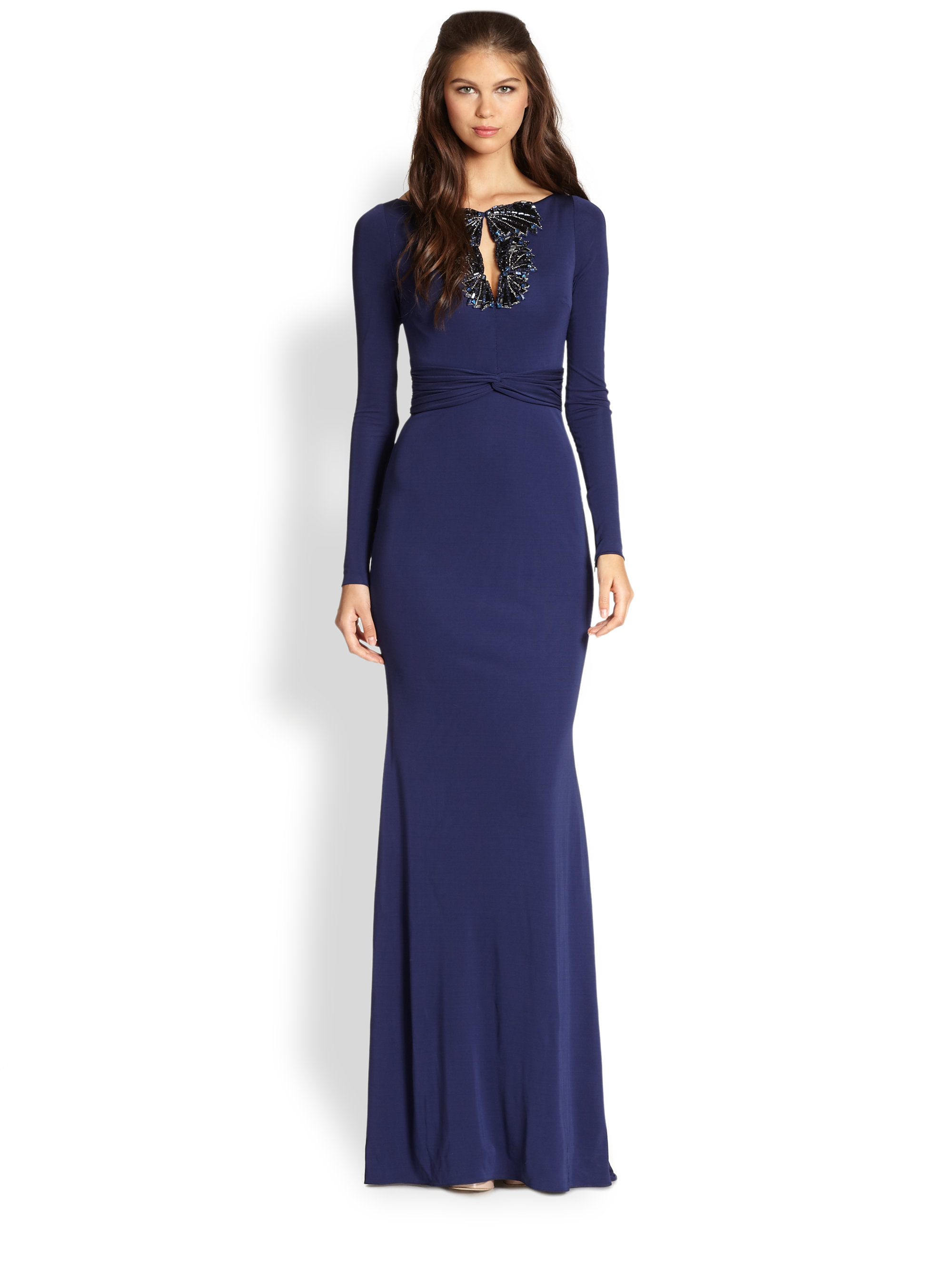 Badgley mischka beaded keyhole gown in blue sapphire lyst for Badgley mischka store nyc