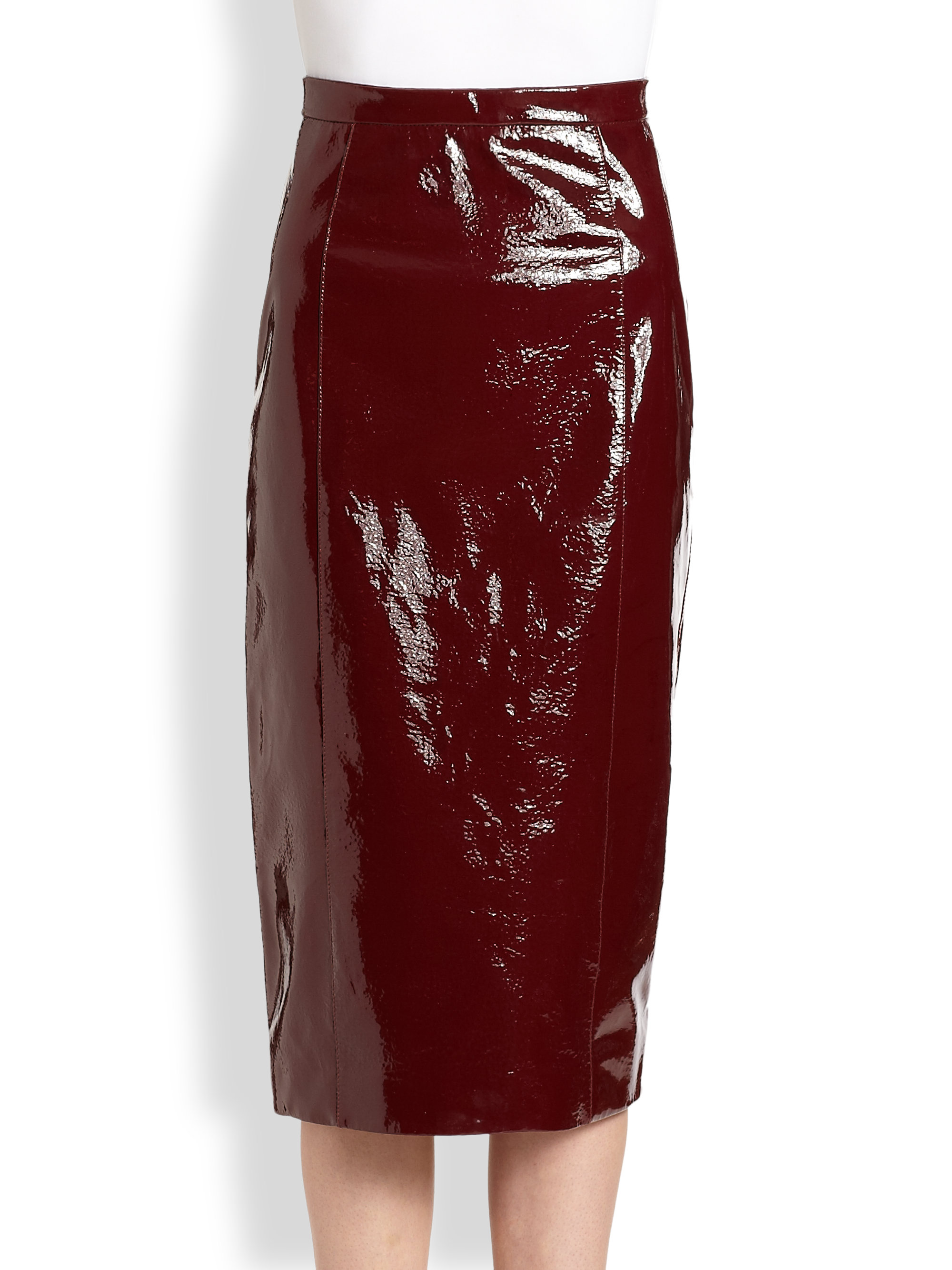 Lyst Burberry Prorsum Patent Leather Skirt In Red