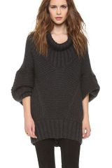 Donna Karan New York Long Sleeve Drape Neck Sweater - Lyst