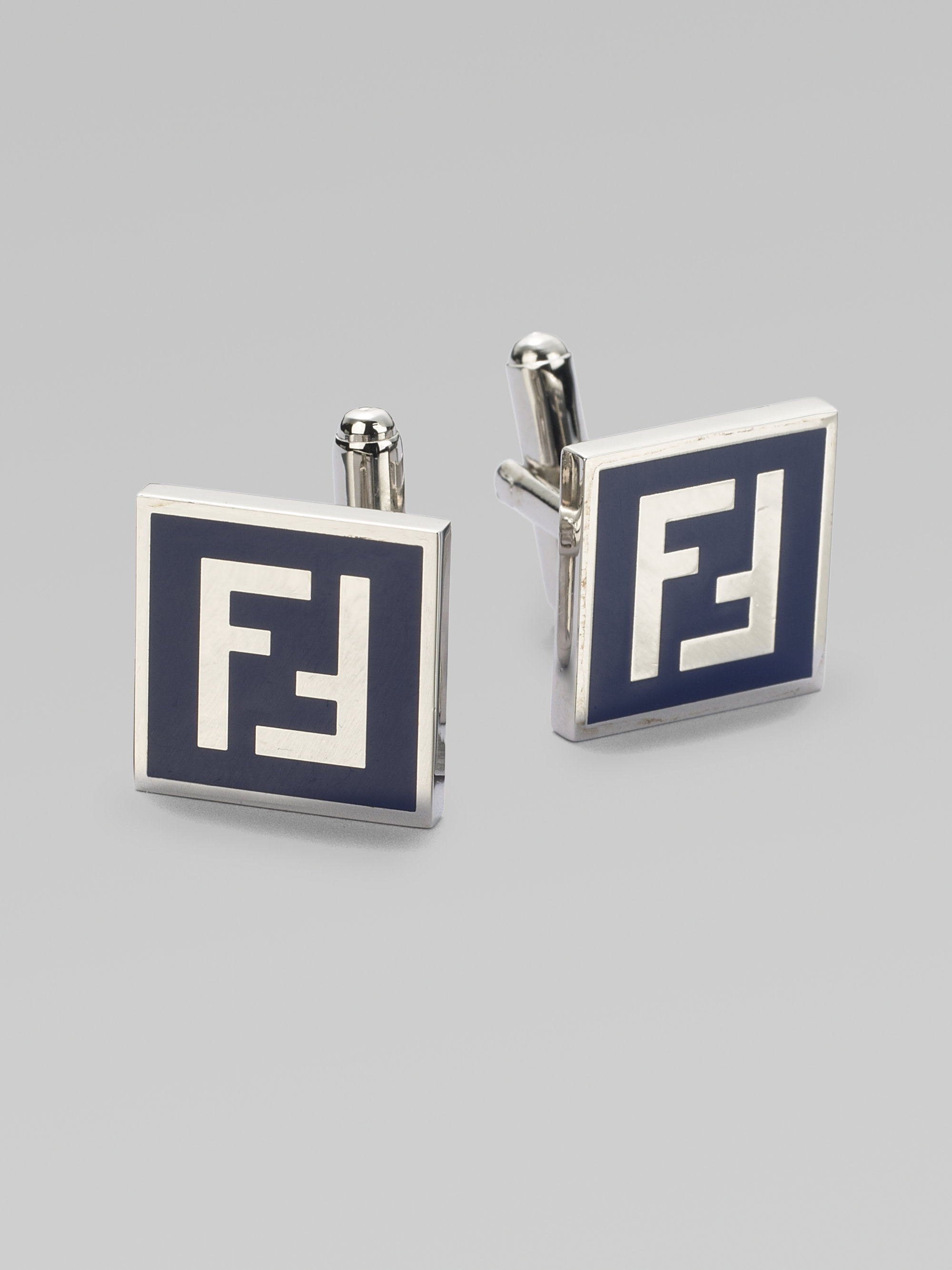 7e282a8a0125 Lyst - Fendi Ff Enamel Cuff Links in Blue for Men