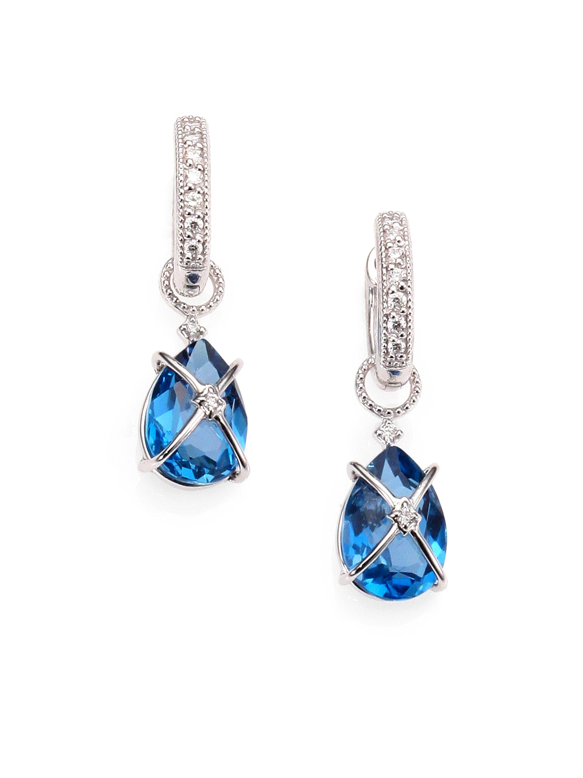 Jude frances London Blue Topaz Diamond and 18k White Gold Earring