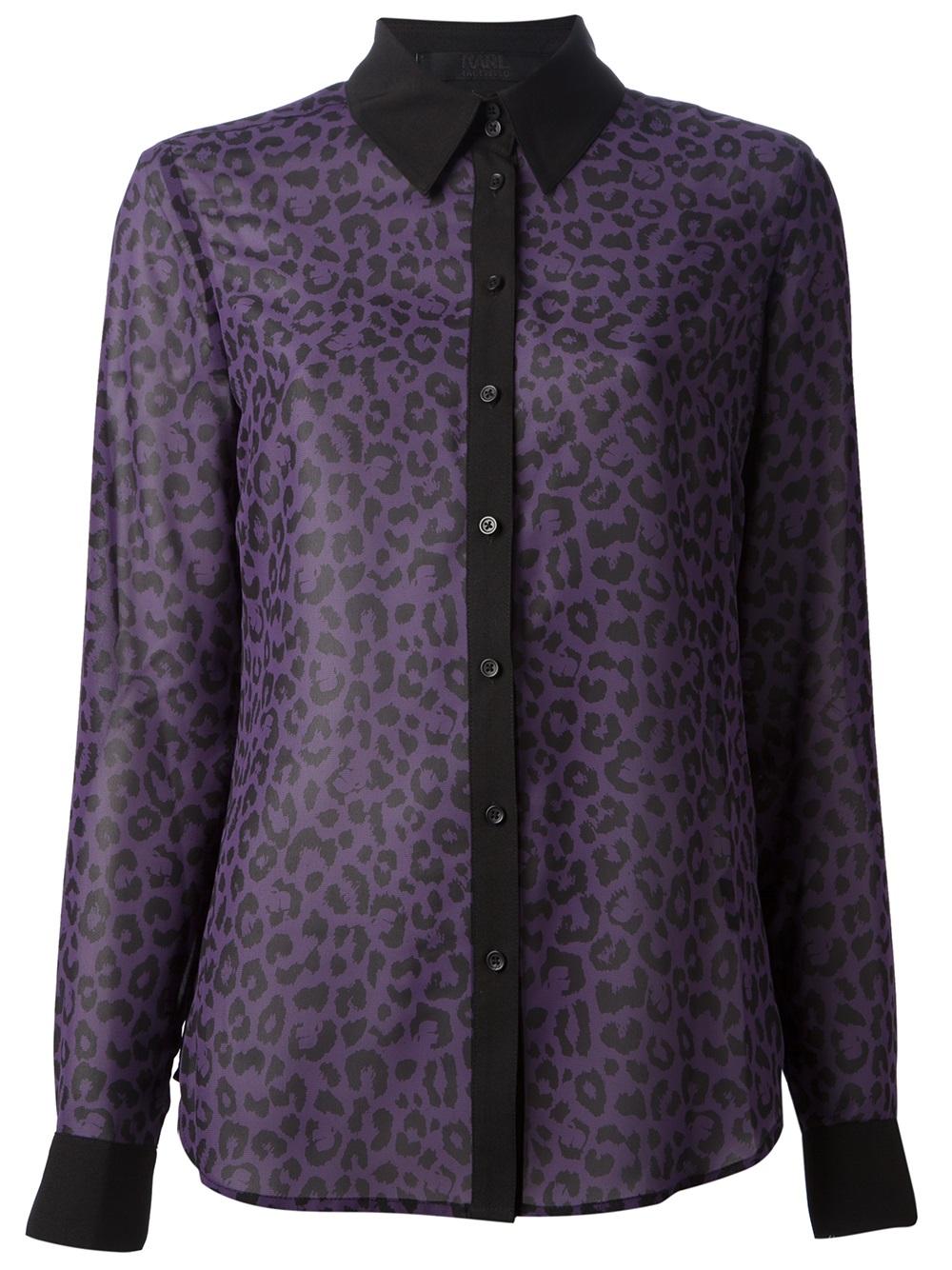 498f1b5fce51 Karl Lagerfeld Leopard Print Blouse in Purple - Lyst