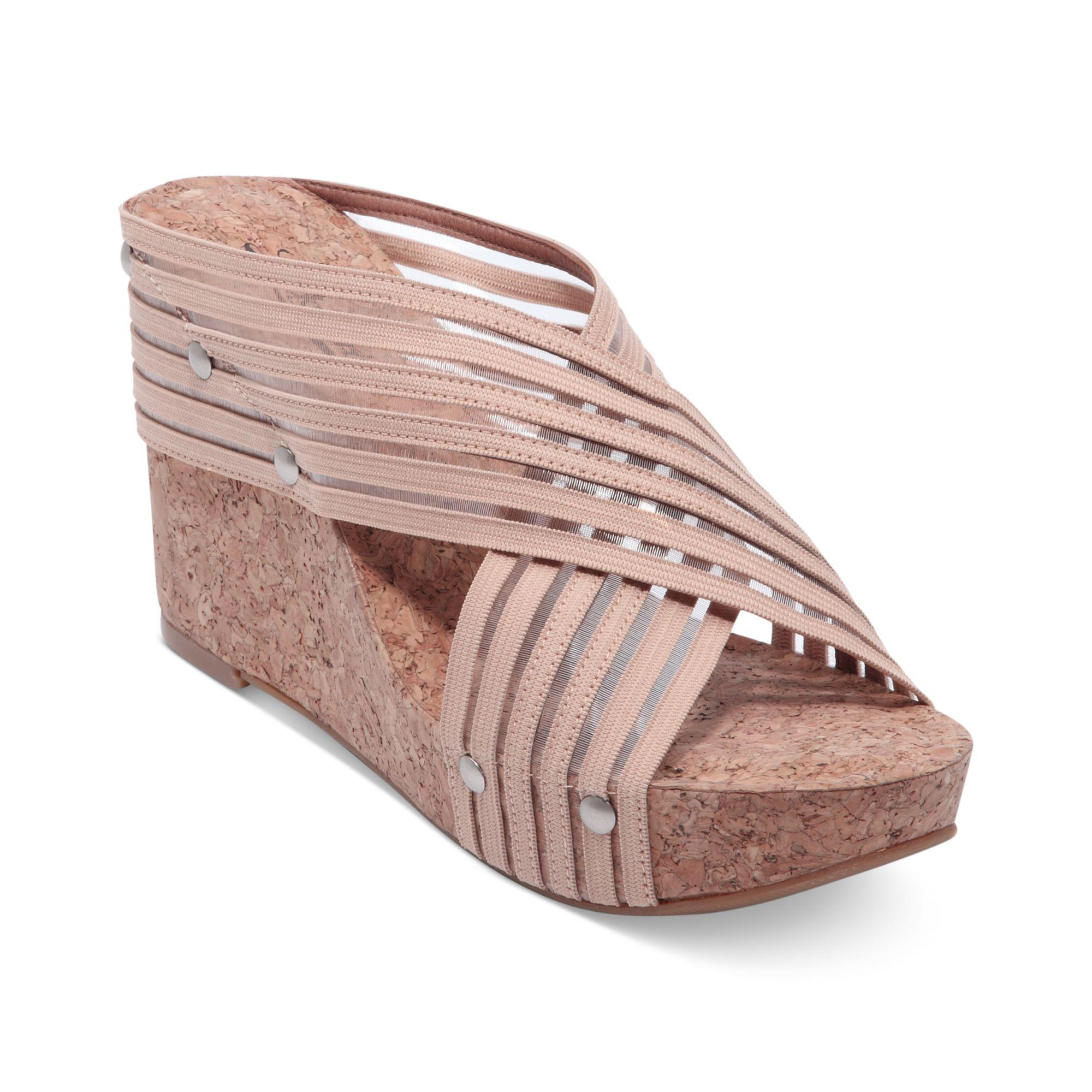 lucky brand miller 2 wedge sandals in beige lyst