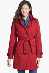 Michael by Michael Kors Trench Coat with Detachable Hood - Lyst