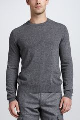 Moncler Logo Heather Sweater Gray - Lyst