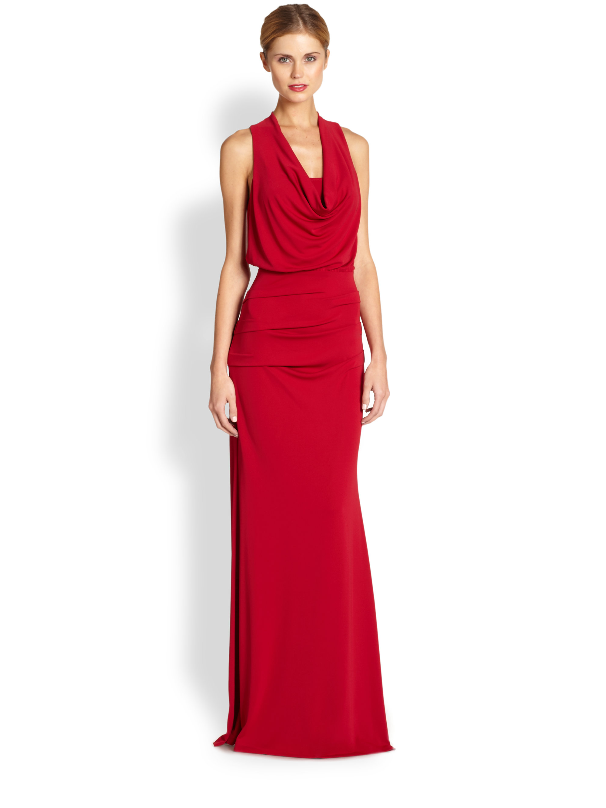 Lyst - Nicole Miller Matte Jersey Gown in Red