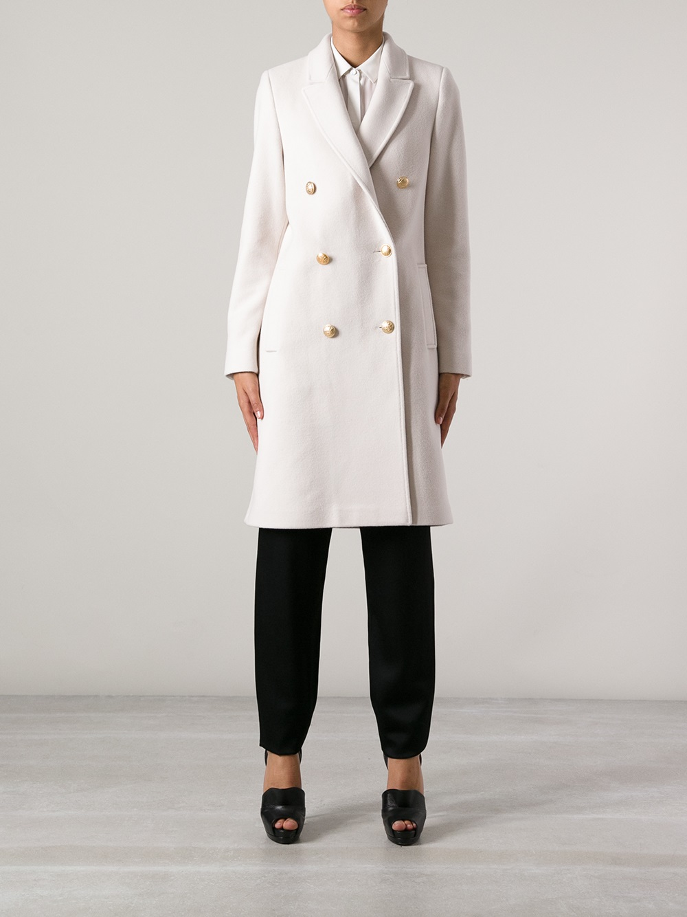 Long White Pea Coat - Tradingbasis