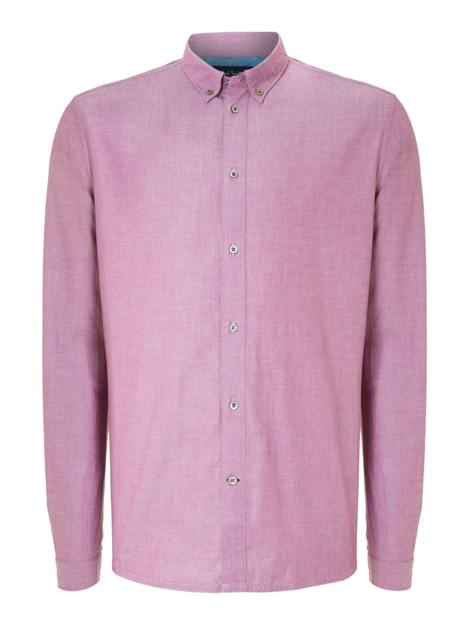 Paul smith long sleeve oxford shirt in pink for men lyst for Pink oxford shirt men