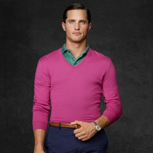Ralph lauren purple label Cashmere Vneck Sweater in Pink for Men ...