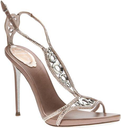Rene Caovilla Crystal Embellished Sandal In Silver Nude