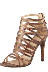 Stuart Weitzman Loops Strappy Python-embossed Leather Sandal - Lyst