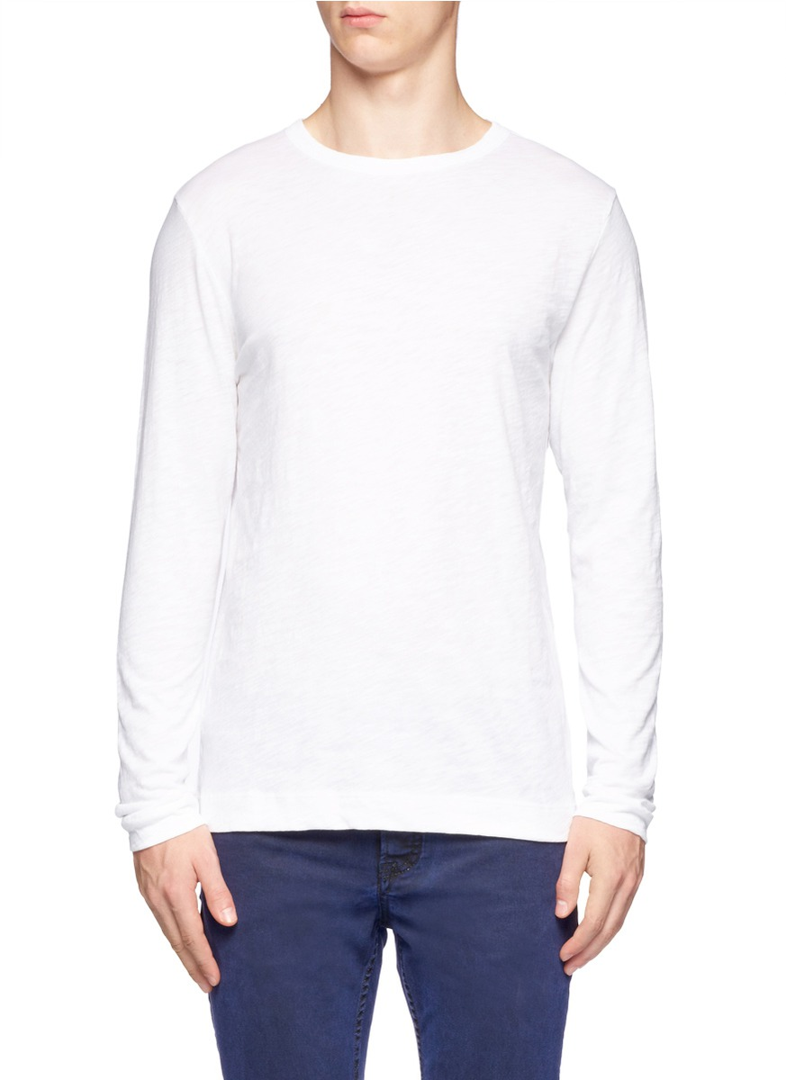 Theory long sleeve cotton t shirt in white for men lyst for White cotton long sleeve t shirt